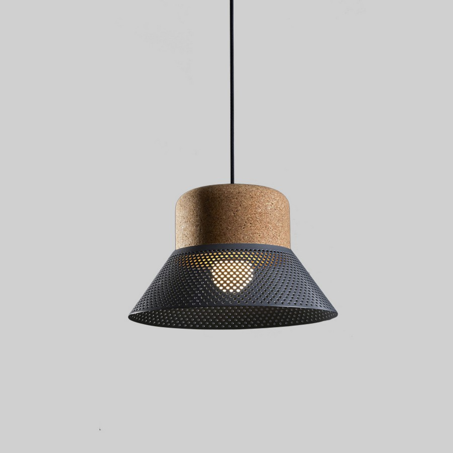 CORK AND METAL SHADE LAMP